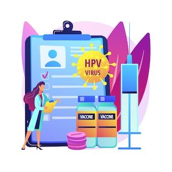 Abstrakte konzeptillustration der behandlung des menschlichen papillomavirus. humanes papillomavirus-medikament, hpv-behandlung, reaktion des immunsystems, linderung der symptome, entfernen der abstrakten metapher der zellen.