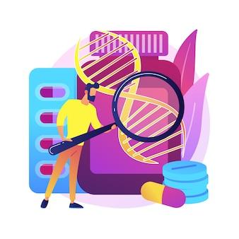Abstrakte konzeptillustration der biopharmakologieprodukte. biopharmakologie und körperpflege, biologisches produkt, mediale kosmetik, natürliche apotheke, nahrungsergänzungsmittel.