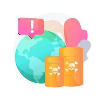 Abstrakte konzeptillustration der chemischen verschmutzung. gefährliche abfallprodukte, chemische kontamination auf deponien, industrielles verschmutzungsproblem, gefährlicher und giftiger müll