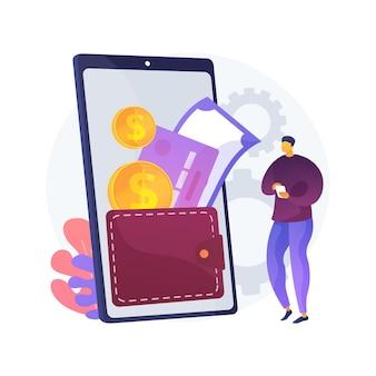 Abstrakte konzeptillustration der digitalen geldbörse