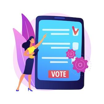 Abstrakte konzeptillustration der elektronischen abstimmung. elektronische wahl, online-abstimmung, e-voting-system, digitale regierungstechnologie, internet-abstimmung, kampagnen-website.