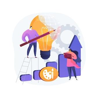 Abstrakte konzeptillustration der entwurfsstrategie. entwurfsplanentwicklung, umsetzung der projektidee, projektanforderungen, web und design, zeichensoftware-app