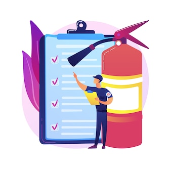 Abstrakte konzeptillustration der feuerinspektion. feueralarm und -erkennung, checkliste für die bauinspektion, erfüllung der anforderungen, sicherheitszertifizierung, jährliche inspektion