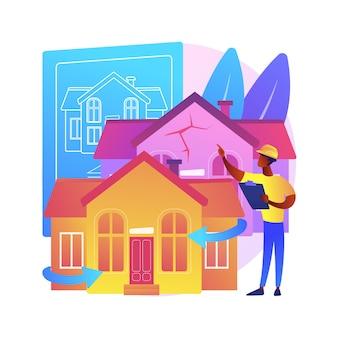 Abstrakte konzeptillustration der hausrenovierung. ideen und tipps zum umbau von immobilien, bauleistungen, potenzieller käufer, hausauflistung, renovierungsdesignprojekt.