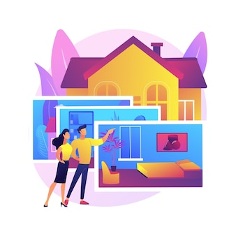 Abstrakte konzeptillustration der immobilienfotografie. immobilienfotografie dienstleistungen, immobilienagentur werbung, hausvorbereitung, fotobearbeitung, online-listung.