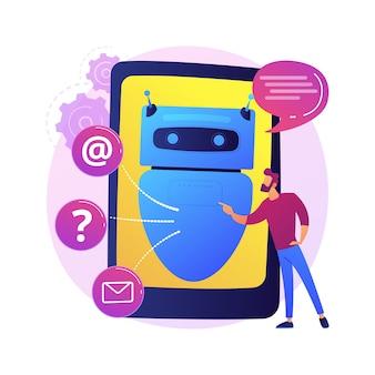 Abstrakte konzeptillustration der künstlichen intelligenz chatbot. künstliche intelligenz, chatbot-service, interaktive unterstützung, maschinelles lernen, verarbeitung natürlicher sprache.