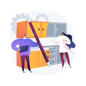 Abstrakte konzeptillustration der kundenspezifischen küchen. maßgeschneidertes design und installation von küchenmöbeln, handgefertigte schränke, backsplash-fliesen, designidee, modulare größe