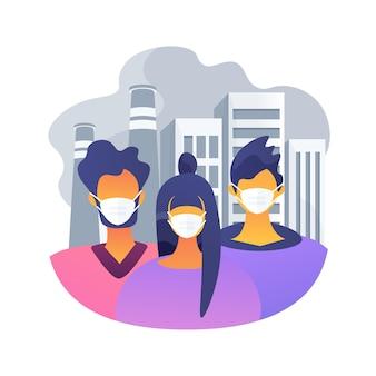 Abstrakte konzeptillustration der luftverschmutzung. verschmutzung durch fabriken, methode zur messung der luftqualität, umweltprobleme, städtischer smog, fahrzeugabgase, globale erwärmung