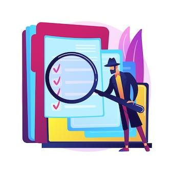 Abstrakte konzeptillustration der privaten untersuchung. privatdetektivbüro, lizenzierte ermittlungsdienste, personalvermittlungsfirma für persönliche ermittlungen, unabhängige suche.