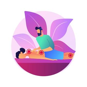 Abstrakte konzeptillustration der professionellen massagetherapie. professionelle sporttherapie, behandlung von massageverletzungen, wellness-dienstleistungen, entspannung im spa, alternative medizin.