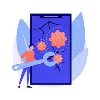 Abstrakte konzeptillustration der smartphone-reparatur