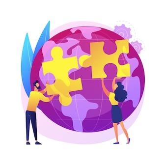 Abstrakte konzeptillustration der sozialen teilhabe. soziales engagement, teamarbeit, beteiligung der zivilgesellschaft, glückliche freiwillige, wohltätigkeitskräfte, sauberer müll, bäume pflanzen