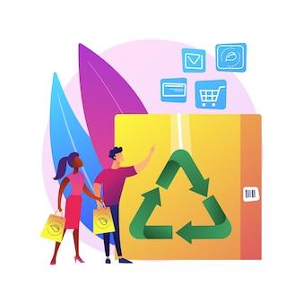 Abstrakte konzeptillustration der verpackung mit geringer auswirkung. nachhaltige versandschachtel, innovative verpackungsmaterialien, e-commerce, umweltfreundliche, recycelbare behälter, kein abfall