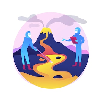 Abstrakte konzeptillustration der vulkanologie. vulkanausbruchstudie, vulkanologiedisziplin, universitätsstudium, postgraduale ausbildung, wissenschaftliche forschung und vorhersage.