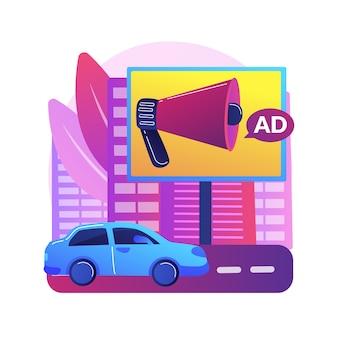 Abstrakte konzeptillustration des außenwerbedesigns. out-of-home-medien, einzelhandelsbanner im freien, kreatives werbedesign, layout der stadtwerbetafel, marketingkampagne