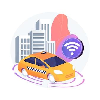 Abstrakte konzeptillustration des autonomen taxis