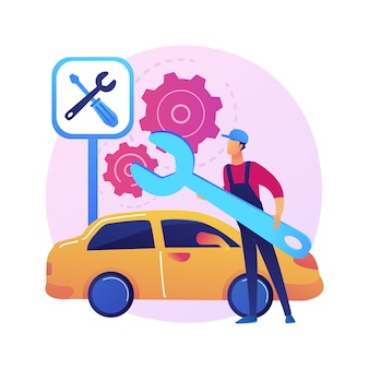 Abstrakte konzeptillustration des autoservices. autowerkstatt, fahrzeugdetail- und wartungsgeschäft, kfz-reparaturservice, motordiagnose, transportreparatur.