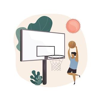 Abstrakte konzeptillustration des basketballlagers