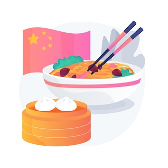 Abstrakte konzeptillustration des chinesischen essens. asiatisches essen zum mitnehmen, chinesische küche, restaurant zum mitnehmen, dim sum kochen, porzellanbuffet, moderne orientalische menüauslieferung