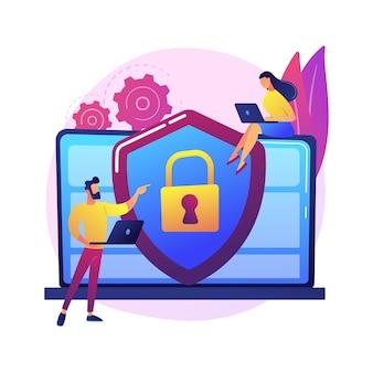 Abstrakte konzeptillustration des cybersicherheitsrisikomanagements. analyse von cybersicherheitsberichten, risikominderungsmanagement, schutzstrategie, identifizierung digitaler bedrohungen.