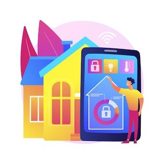 Abstrakte konzeptillustration des intelligenten hauses. iot der nächsten generation, zuhause mit kognitiver intelligenz, inneninfrastruktur, intelligentem wohnumfeld und lebensqualität.