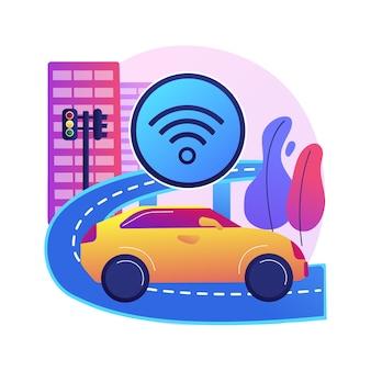 Abstrakte konzeptillustration des intelligenten straßenbaus. intelligente straßentechnologie, iot-stadtverkehr, mobilität in der stadt, integration von technologien in die autobahn.