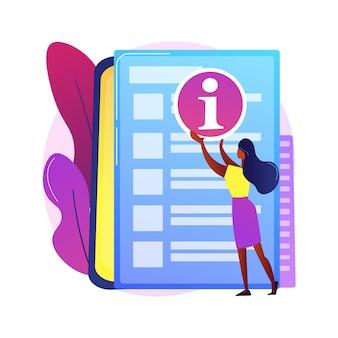 Abstrakte konzeptillustration des kundendienstleitfadens. kundendienst-tutorial, handbuch für hervorragende schulungen, tipps für mitarbeiter, implementierungsleitfaden, schulungsinformationen