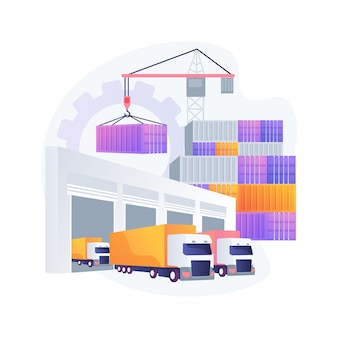 Abstrakte konzeptillustration des logistikzentrums