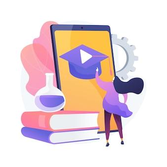 Abstrakte konzeptillustration des mobilen lernens. m-learning-anwendung, tragbares gerät, bildungstrend, aufgabe, individueller plan, gruppenunterricht, sofortiges feedback