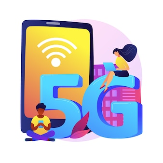 Abstrakte konzeptillustration des mobiltelefons 5g-netzwerks. mobilfunkkommunikation, modernes smartphone, 5g-technologie, schnelle internetverbindung, netzabdeckungsanbieter.