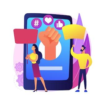 Abstrakte konzeptillustration des online-aktivismus. internetaktivismus, digitale kommunikation, veröffentlichung in sozialen medien, bereitstellung von informationen, zielgruppe, hashtag-marketing.