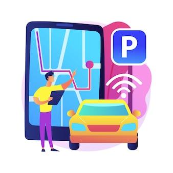 Abstrakte konzeptillustration des selbstparkenden autosystems. automatisiertes parkwagensystem, selbstparkendes fahrzeug, intelligente fahrerlose technologie, autonomer fahrdienst.