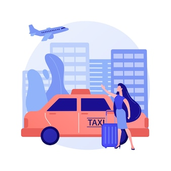 Abstrakte konzeptillustration des taxitransfers