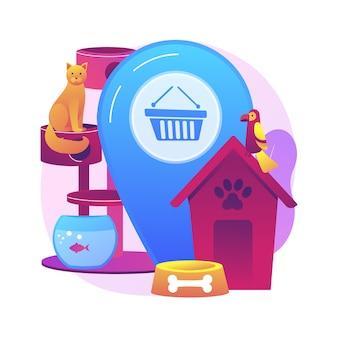 Abstrakte konzeptillustration des tiergeschäfts. tiere liefert online, tierwaren e-shop, kaufen sie einen welpen, medizin und futter, zubehör für haustiere, pflege kosmetik-website