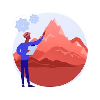 Abstrakte konzeptvektorillustration der geomorphologie. geomorphologietyp, geomorpher prozess, geowissenschaften, universitätsdisziplin, abschlussstudium, geologiekurs, abstrakte metapher für angewandte studien.