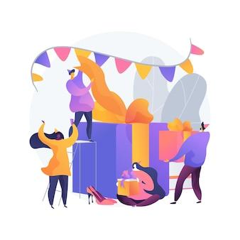 Abstrakte konzeptvektorillustration der geschenköffnungspartei. tag für tag party, gemeinsames schenken, tradition der familienfeier, geschenk werden, einladung des gastes, abstrakte metapher des brunch-events.