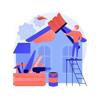 Abstrakte konzeptvektorillustration der hausrenovierung. immobilienumbau ideen und tipps, bauleistungen, potenzielle käufer, haus auflistung, renovierung design projekt abstrakte metapher.
