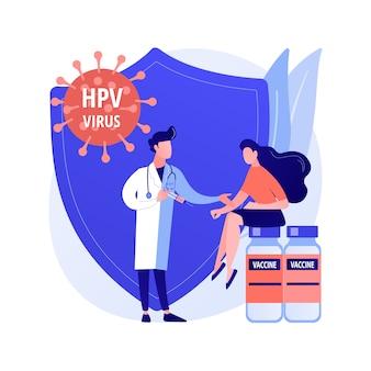 Abstrakte konzeptvektorillustration der hpv-impfung. schutz vor gebärmutterhalskrebs, immunisierungsprogramm gegen humanes papillomavirus, hpv-impfung, verhinderung einer abstrakten metapher für infektionen.