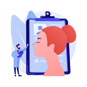 Abstrakte konzeptvektorillustration der nasenkorrektur. nasenkorrekturverfahren, nicht-chirurgische nasenkorrektur, veränderte nasenform, atemprobleme, ästhetische umformung riskieren abstrakte metapher.