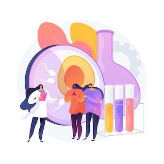 Abstrakte konzeptvektorillustration der reagenzglasbefruchtung. reagenzglasbaby, in-vitro-befruchtung, petrischale, pflanzenzüchter, künstliche befruchtung, eizelle, abstrakte metapher der schwangeren frau.
