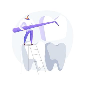 Abstrakte konzeptvektorillustration der zahnfurniere. veneer platzierung, dental beauty lösung, zahnästhetik, kosmetische zahnheilkunde, kieferorthopädische klinik, promi lächeln abstrakte metapher.