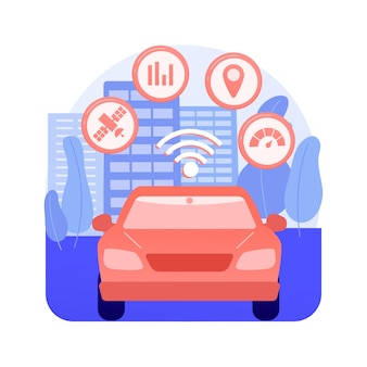 Abstrakte konzeptvektorillustration des intelligenten transportsystems. verkehrs- und parkmanagement, smart city-technologie, verkehrssicherheit, reiseinformationen, abstrakte metapher für öffentliche verkehrsmittel.