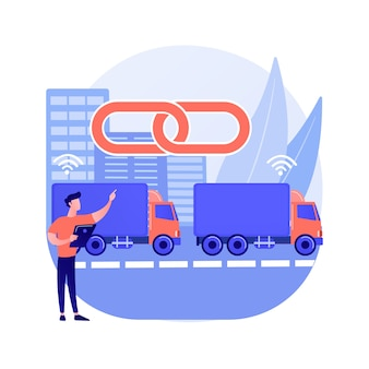 Abstrakte konzeptvektorillustration des lkw-zuges. autonomes fahren, moderne logistiktechnologie, konnektivität, elektrischer lkw, fahrerloses fahrzeug, automatisierte abstrakte metapher der autobahn.