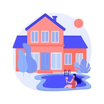 Abstrakte konzeptvektorillustration des privaten wohnsitzes. einfamilienhaus, privates stadthaus, wohnungstyp, umliegendes landeigentum, abstrakte metapher des immobilienmarktes.