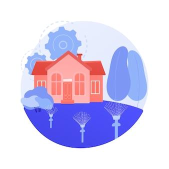 Abstrakte konzeptvektorillustration des rasenbewässerungssystems. rasensprinkleranlage, bewässerung, gartenschlauch, automatisierte bewässerung, elektronischer timer, pop-up-sprinkler, abstrakte metapher für die landschaftsgestaltung.