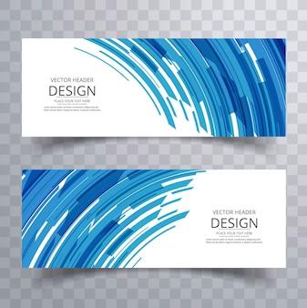 Abstrakte kreative blaue Linien Fahnen eingestellt