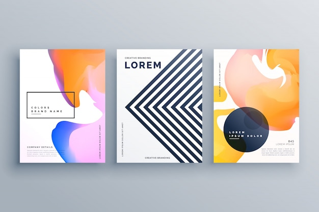 Abstrakte kreative broschüre design vorlage set mit linien und flüssigen farben gemacht