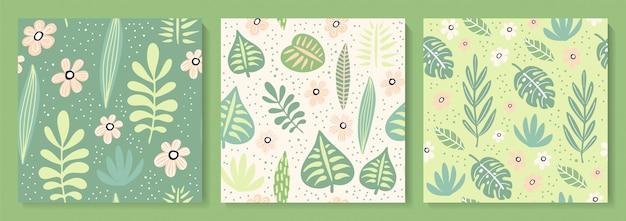 Abstrakte kreative nahtlose muster mit tropischen pflanzen.
