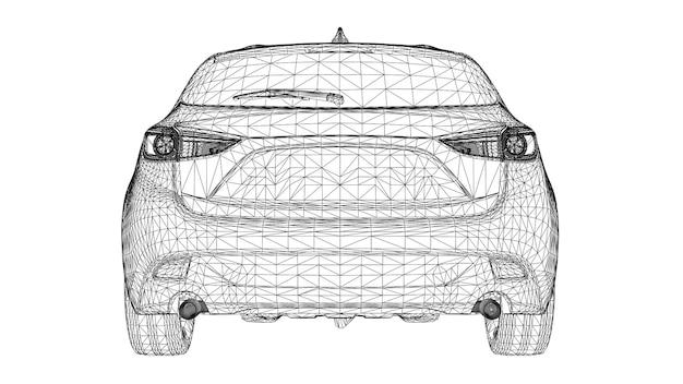 Abstrakte kreative vektor 3d sportwagen linien mit punkten verbunden.