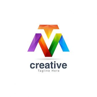 Abstrakte kreative vibrierende buchstabe m logo design template